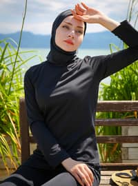 Black - Half Lined - Fully Covered Swimsuits