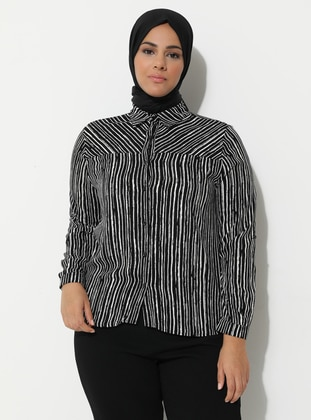 Black - Zebra - Point Collar - Viscose - Plus Size Tunic