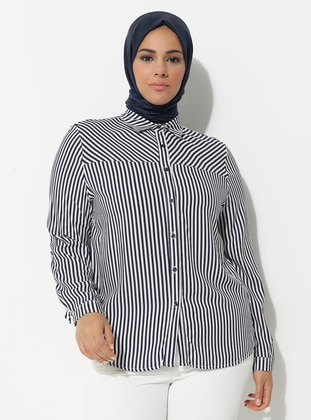 Navy Blue - Stripe - Point Collar - Plus Size Tunic