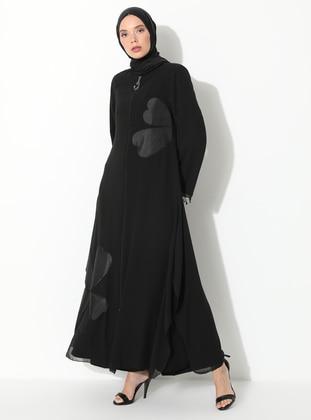 Black - Fully Lined - Crew neck - Abaya