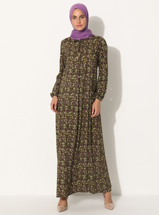 Olive Green - Floral - Crew neck - Unlined - Dress