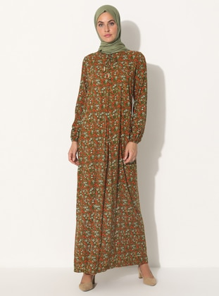 Green - Floral - Crew neck - Unlined - Dress