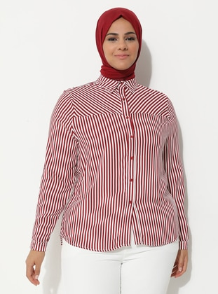 Maroon - Stripe - Point Collar - Plus Size Tunic