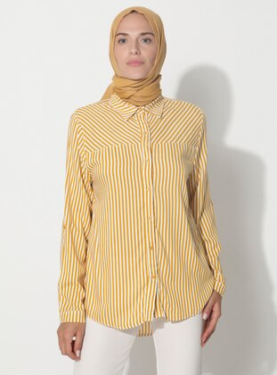 Yellow - Stripe - Point Collar - Tunic