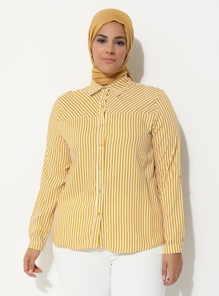 Yellow - Stripe - Point Collar - Plus Size Tunic