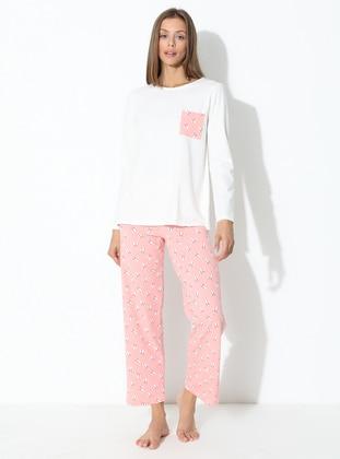 Ecru - Pink - Powder - Crew neck - Multi -  - Pyjama Set