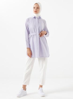 Lilac - Stripe - Point Collar - Tunic