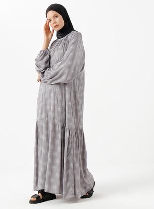 Gray - Floral - Crew neck - Dress