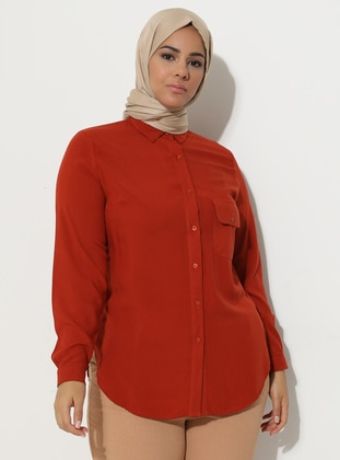 Terra Cotta - Point Collar - Plus Size Tunic