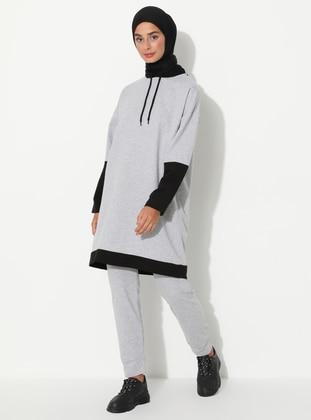 Gray - Black -  - Tracksuit Set