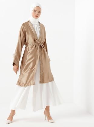 Mink - Mink - Unlined - Shawl Collar - Satin - Viscose - Kimono