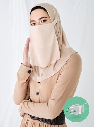 Beige - Plain - Viscose - Mask - Maske