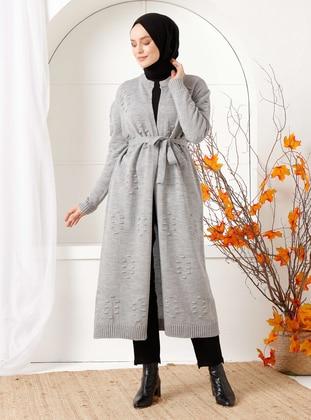 Gray - Acrylic -  - Knit Cardigans - İnşirah