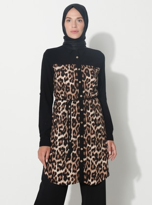 Brown - Leopard - Point Collar - Tunic