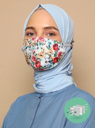 Multi - Floral - Cotton -  - Instant Scarf -  Maske