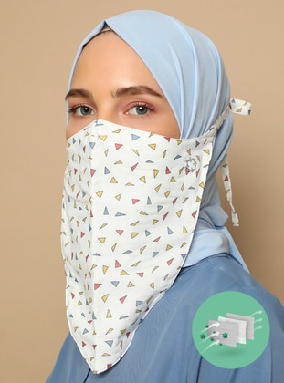 Multi - Printed - Cotton - - Instant Scarf - Maske