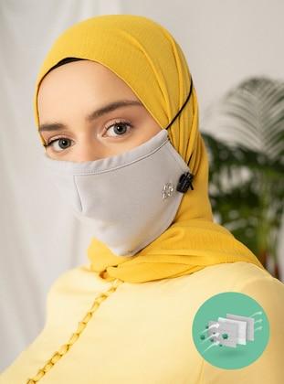 Gray - Plain - Mask - Maske