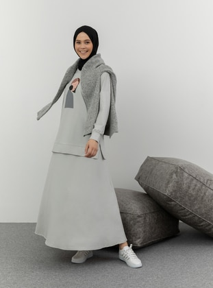 Gray - Printed -  - Suit