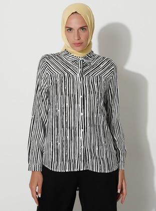White - Zebra - Point Collar - Viscose - Blouses