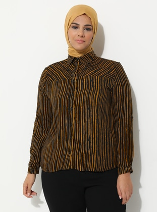 Mustard - Zebra - Point Collar - Viscose - Plus Size Tunic