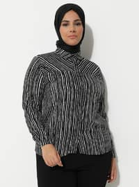 Black - Zebra - Point Collar - Viscose - Plus Size Tunic