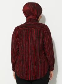 Maroon - Zebra - Point Collar - Viscose - Plus Size Tunic