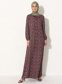 Plum - Floral - Crew neck - Unlined - Dress