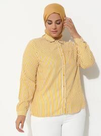 Yellow - Stripe - Point Collar - Plus Size Tunic