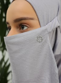 Gray - Plain - Viscose - Mask