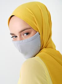Gray - Plain - Mask -  Maske