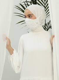 Ecru - Lace -  - Mask -  Maske