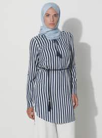 Navy Blue - Zebra - Point Collar - Viscose - Tunic