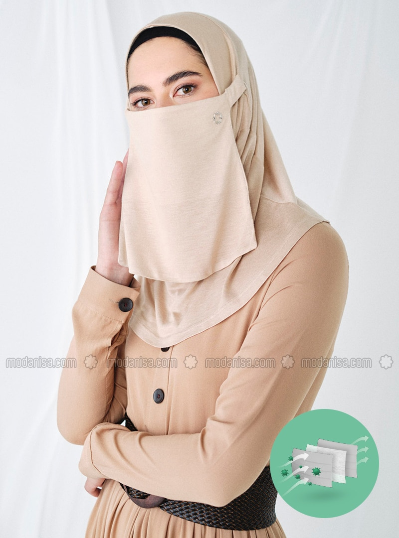 Beige - Plain - Viscose - Mask