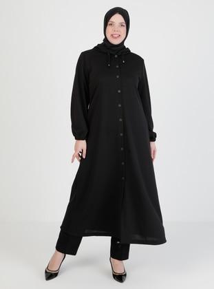 Black - Unlined - - Plus Size Abaya