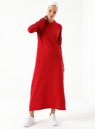 Red - Polo - Unlined -  - Dress