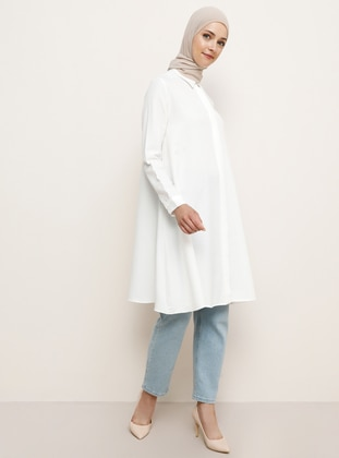 White - Point Collar - Viscose - Tunic