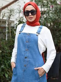 Blue - Sweatheart Neckline - Unlined - Denim - - Dress