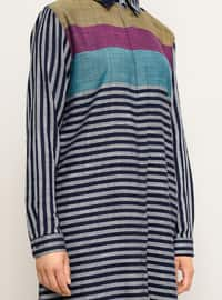 Mustard - Multi - Stripe - Point Collar -  - Tunic