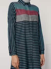 Petrol - Stripe - Point Collar -  - Tunic