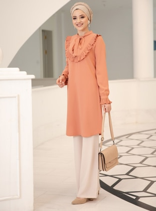 Salmon - Polo neck - Crepe - Tunic - DressLife