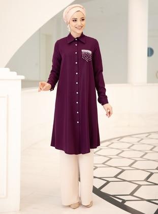 Plum - Point Collar - Crepe - Tunic - DressLife