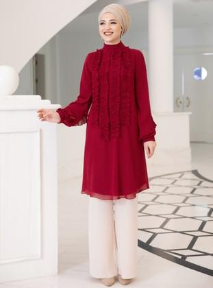Red - Polo neck - Chiffon - Tunic