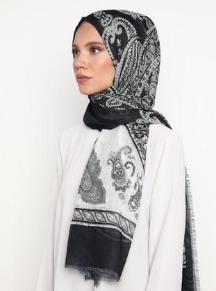 Multi - Black - Printed - Viscose - Shawl