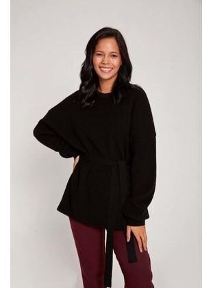 Black - Crew neck - Knit Sweaters