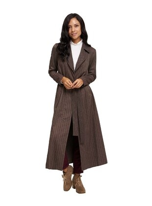 Brown - Stripe - Unlined - Shawl Collar - Viscose - Trench Coat