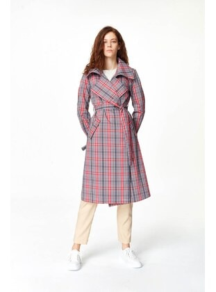 Coral - Plaid - Unlined - Trench Coat