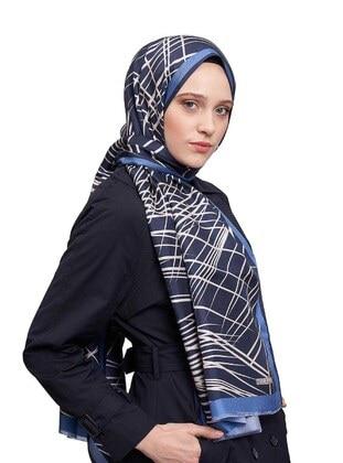 Blue - Printed - %100 Silk - Shawl - MIZALLE