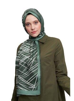 Green - Leopard - %100 Silk - Shawl - MIZALLE