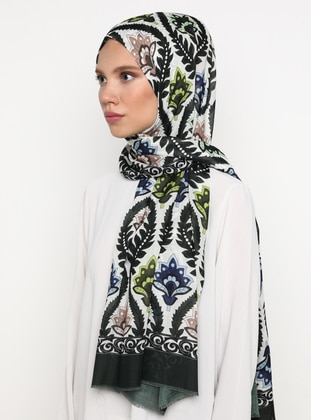 Khaki - Printed - Viscose - Shawl