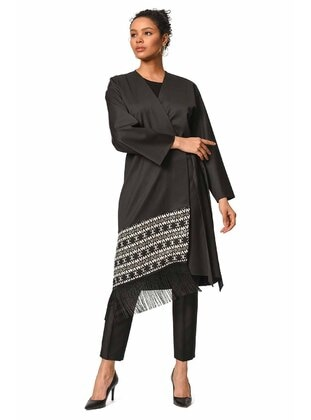 Black - Ethnic - V neck Collar - Abaya
